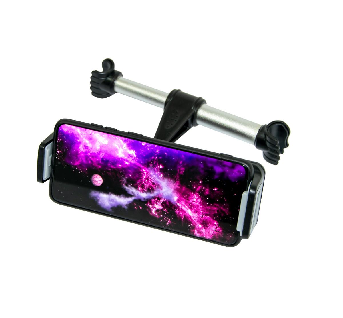 Тримач для телефону в машину на підголівник, універсальний Car Headrest Mount Holder чорний з сірим