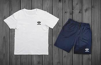 Летний комплект Adidas Белая футболка синие шорты