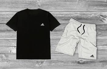 Комплект лентий мужской Adidas Черная футболка серые шорты