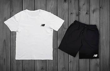 Комплект лентий мужской New Balance Белая футболка черные шорты