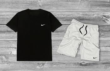 Мужской комплект на лето Nike Черная футболка серые шорты