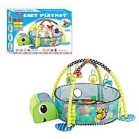 Развивающий коврик для младенца с подвесным игрушками манеж погремушки 918 3в1 с шариками черепаха