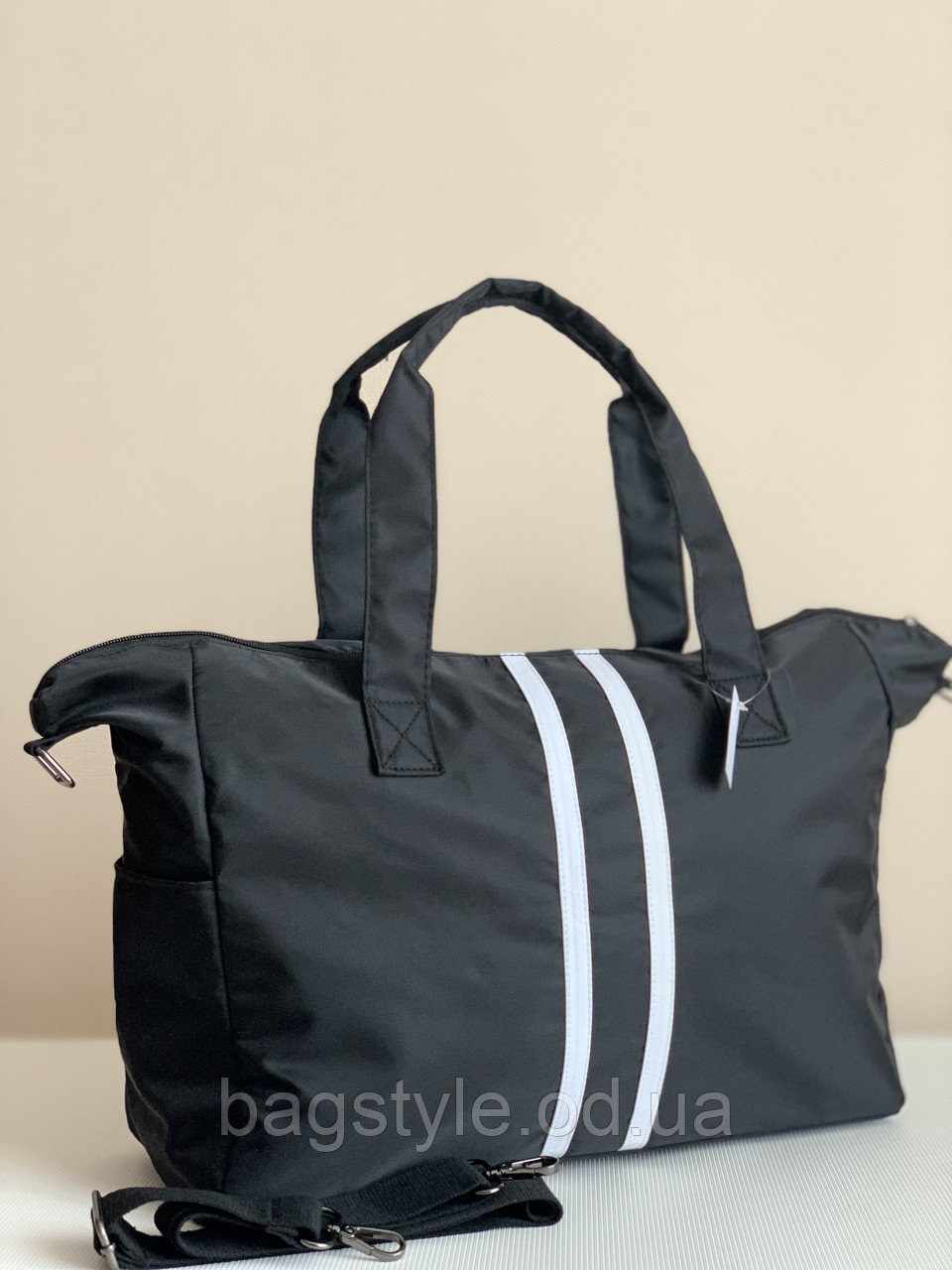 Женская сумка шоппер тканевая черная городская