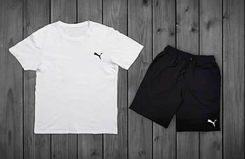 Мужской летний комплект Puma Белая футболка черные шорты