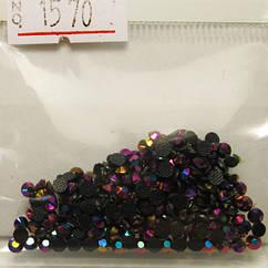 Камені Стрази для Нігтів 3 мм Акрилові Чорні з Рожево-Фіолетовим Відливом в Наборі, Дизайн Нігтів