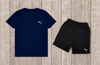 Мужской летний комплект Puma Синяя футболка черные шорты
