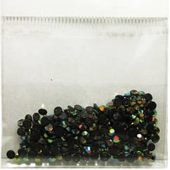 Камені Стрази 3 мм для Нігтів Акрилові Чорні з Золотисто-Жовтим Отливомв Наборі, Дизайн Нігтів