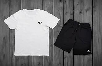 Летний комплект Adidas Белая футболка черные шорты