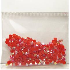 Камені Стрази 3 мм для Нігтів Акрилові Червоні з Рожевим Відливом в Наборі, Дизайн Нігтів, Манікюр