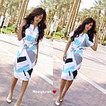 Платье с поясом с геометрическим принтом, фото 4