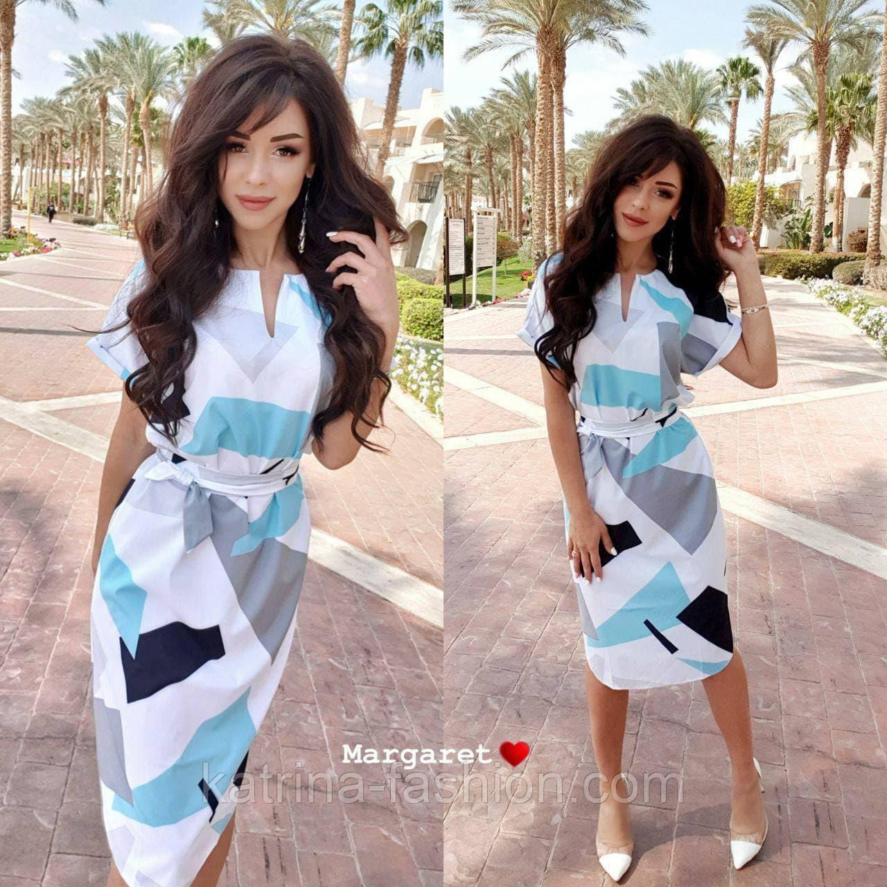 Платье с поясом с геометрическим принтом