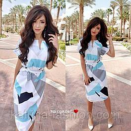 Сукня з поясом з геометричним принтом