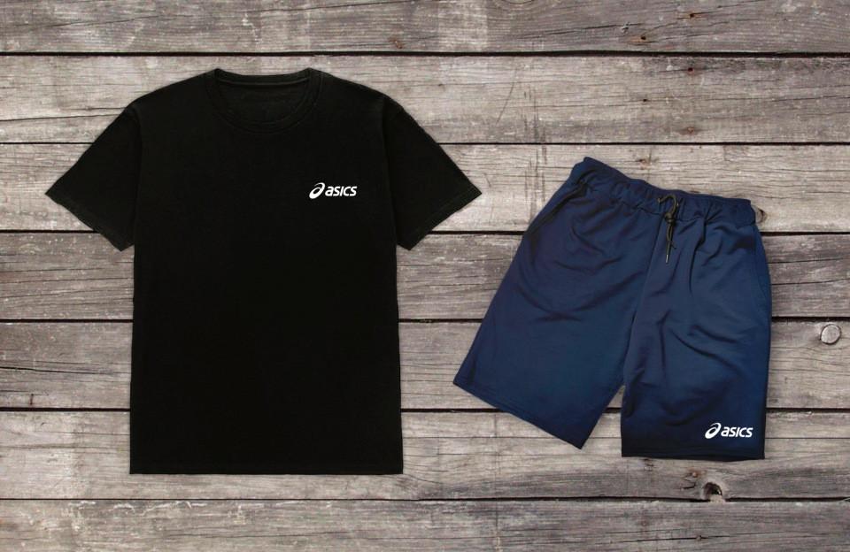 Літній комплект Asics Чорна футболка сині шорти