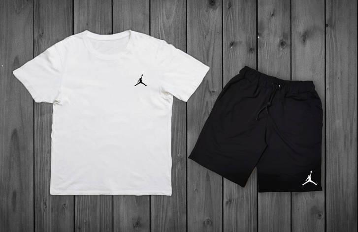Літній комплект Jordan Біла футболка чорні шорти, фото 2