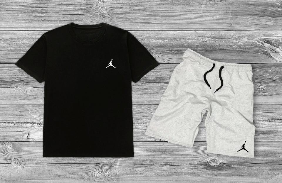 Літній комплект Jordan Чорна футболка сірі шорти