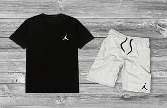 Летний комплект Jordan Черная футболка серые шорты