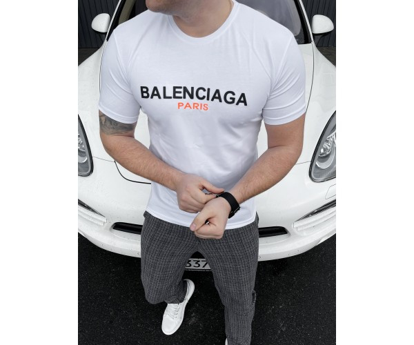 Мужская футболка  balanciaga white