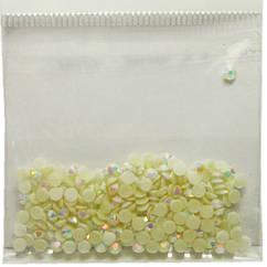Камені Стрази 3 мм для Нігтів Акрилові Кремові з Срібним Отливом в Наборі, Дизайн Нігтів, Манікюр