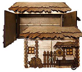 """Подарунковий дерев'яний сувенірний набір """"Настінна Ключниця з підводою Велика"""" ручної роботи"""