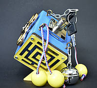 Бизикубик 8х8 см бізіборд busyboard синий бизикуб бізікубик детские деревяные игрушки Монтессори