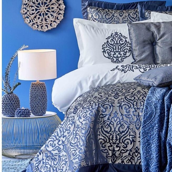 Набор постельное белье с покрывалом + плед Karaca Home - Camilla indigo 2020-2 индиго евро(13)