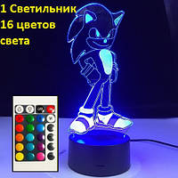 "3D светильник ""Соник Бум"", Оригинальный подарок ребенку, Оригінальний подарунок дитині"
