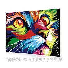 "Картина за номерами Lesko E-493 ""Веселковий кіт"" 40-50см (4767-14672a)"