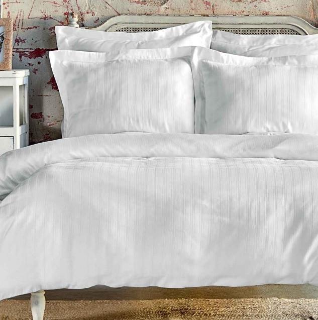 Постельное белье Karaca Home сатин - Charm bold beyaz белый полуторный