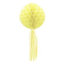 Бумажный шар соты с бахромой (30см) желтый 979816635