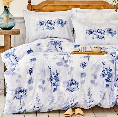 Постільна білизна Karaca Home сатин - Roses mavi блакитний євро