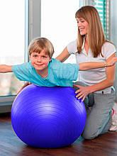 Фітбол (М'яч для фітнесу, гімнастичний) глянець OSPORT 55 см (OF-0017) Синій