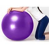 Фітбол (М'яч для фітнесу, гімнастичний) глянець OSPORT 55 см (OF-0017) Синій, фото 4