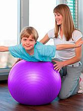 Фітбол (М'яч для фітнесу, гімнастичний) глянець OSPORT 55 см (OF-0017) Фіолетовий