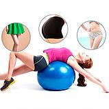 Фитбол (Мяч для фитнеса, гимнастический) глянец OSPORT 65 см (OF-0018) Фиолетовый, фото 4
