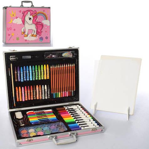 Детский набор для рисования в удобном чемоданчике розовый