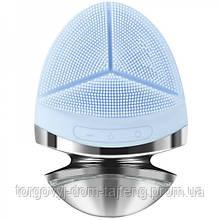 Ультразвуковая силиконовая щетка массажер для чистки лица + фототерапия + EMS Doc - Team Голубая (241)