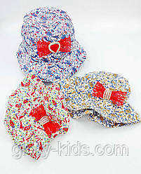 Панамка дитяча, бавовняна, декоративно прикрашена бантиком 48-50р код 7096 Glory-kids