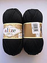 Пряжа Дива (Diva) ALIZE цвет 60  черный