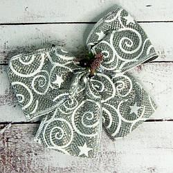 Бант рождественский серебряный с узором (уп 5шт) 9246