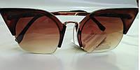 Солнцезащитные очки женские коричневые Кошачий глаз