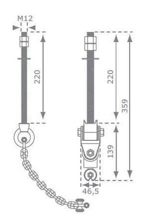 Підвіс гойдалки з карданним шарніром KBT з нержавіючої сталі, фото 3