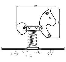 Качалка на пружині KBT Поні з HDPE пластику (повний комплект), фото 3
