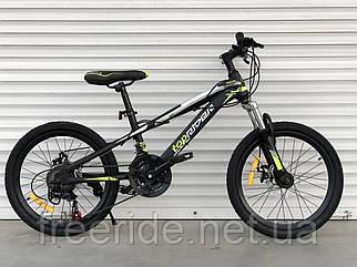 """Дитячий швидкісний велосипед TopRider 611 20"""" (13 рама) чорно-салатовий"""