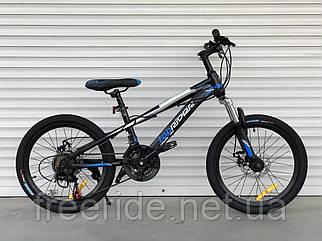 """Дитячий швидкісний велосипед TopRider 611 20"""" (13 рама) чорно-синій"""