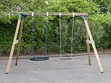 Гойдалка дерев'яна XL Deluxe з гніздом і сидінням на ланцюгах, фото 2