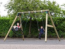 Гойдалка дерев'яна XL Deluxe з гніздом і сидінням на ланцюгах, фото 3