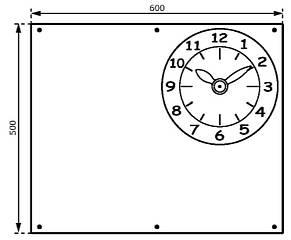 Дошка для крейди з годинником КВТ, 50х60 см, фото 3