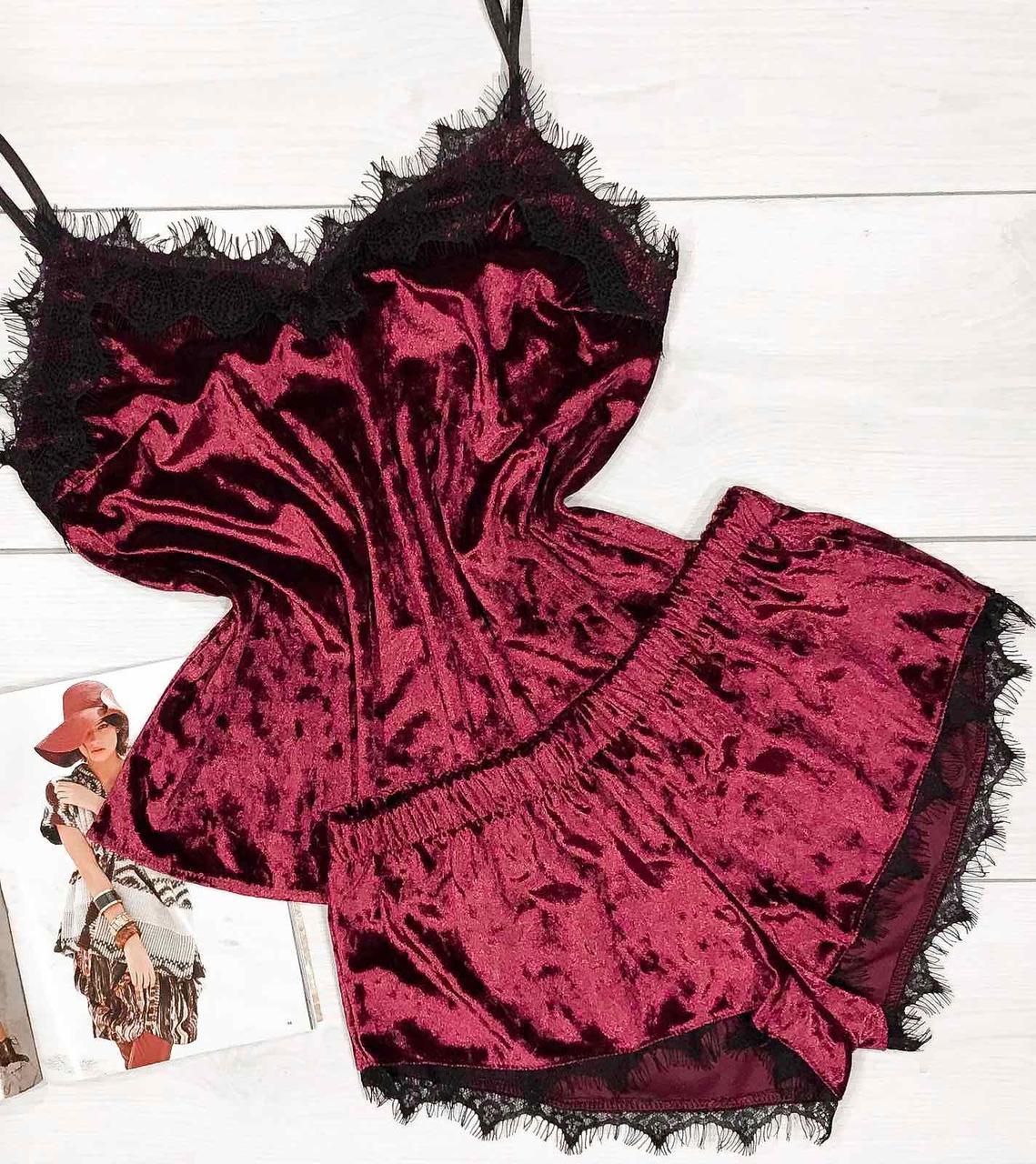Красивая велюровая пижама, женский домашний комплект майка шорты с кружевом пижама