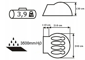 Намет Acamper Acco 4 Pro, 3500 мм, синя, фото 3