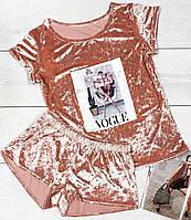 Пижама футболка и шорты из мягкого мраморного велюра